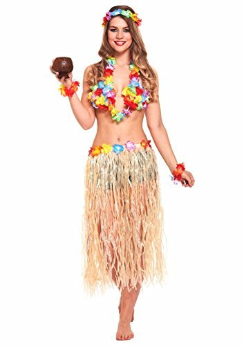 JZK 5 in 1 Hawaiian Party Fancy Dress Costume Set Hula Skirt Flower Headband Bracelet lei Garland Necklace for Girls Women Hawaiian Luau Party Hawaii Party Supply Party Accessory]()
