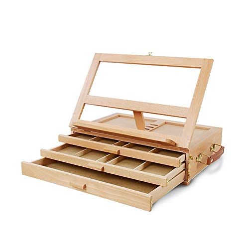 (Painting rack Elm Tabletop Easel 3 Tier Drawer Easel Desktop Picture Box Wooden Portable Teaching Wood Drawing Stand)