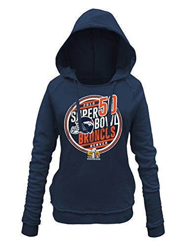 NFL Denver Broncos Women's Super Bowl Bound Hooded Sweatshirt, Navy, X-Large (Bowl Bound Hoody)