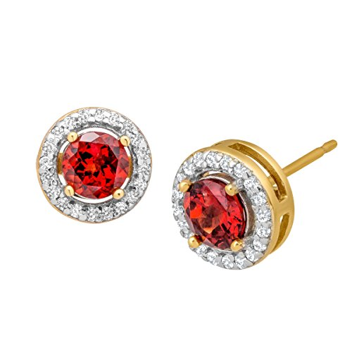 (1 ct Garnet & 1/4 ct White Topaz Stud Earrings in 14K Gold-Plated Sterling Silver)