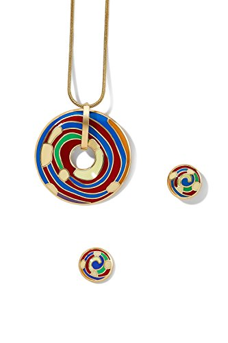 enamel-pendant-necklace-and-earring-set-snake-chain-open-circle-charm-round-studs-red-blue-orange