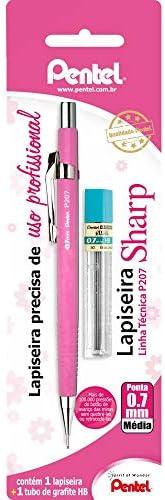 Lapiseira Sharp P200 + Grafite, Pentel, Rosa, 0.7 Mm, Pacote De 1