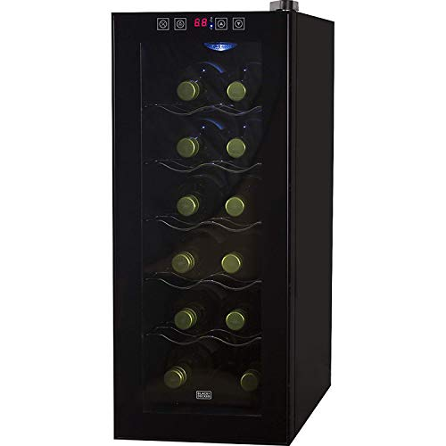 BLACK+DECKER WACDBWT12TB 12 Bottle Capacity Thermoelectric Wine Cellar-Electronic Touch Controls & LED Display Cabinet with UV Glass Door & Interior Light, Black