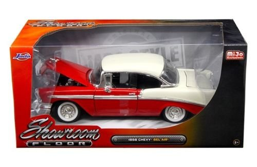 1956 Chevrolet Bel Air Showroom Floor Red 1/24 Diecast Car Model By Jada 98889 (Floor Showroom Ground)