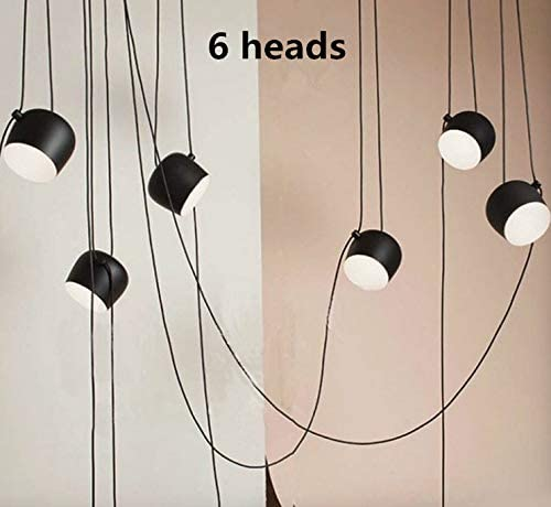 Narrandes 3 Meters 3 4 5 6 Heads DIY Flos Aim LED Black Pendant Light Lamp Aluminium Shade Chandeliers with Acrylic Cover Drawing Room Hall Lobby LED Hanging Light with Acrylic Cover, 6 Heads