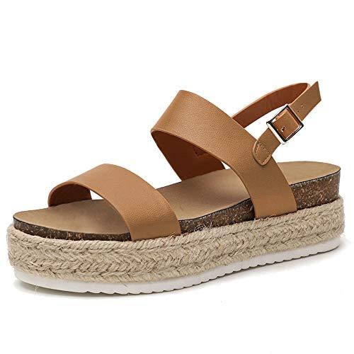 Chenghe Women's Platform Sandals Casual Espadrilles Flatform Ankle Buckle Strap Open Toe Slingback Summer Sandals Khaki US 7.5 ()