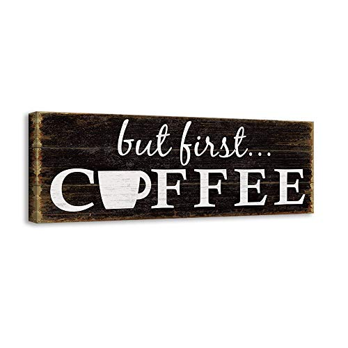 Kas Home Inspirational Motto Canvas Wall Art,Coffee Prints Signs Framed,Retro Artwork Decoration for Bedroom,Living Room,Office & Home Wall Decor (6 x 16 inch, Coffee) (Decor Coffee Wall)