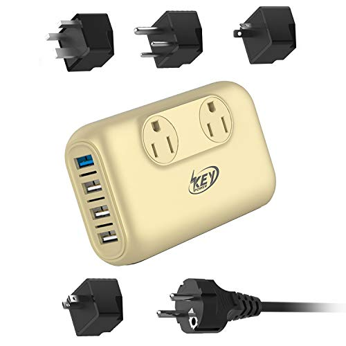 Key Power Step Down 220V to 110V Voltage Converter and International Travel Adapter, for CPAP, Hair Clippers, Hair Trimmers, Curling Iron Wand, Laptop - [Use USA Appliance Overseas in 260+ Countries]