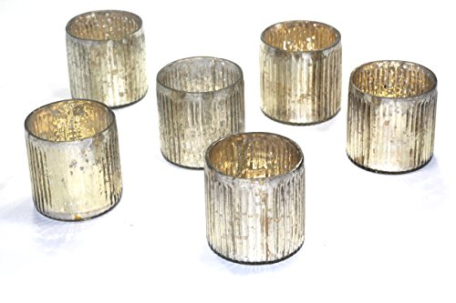 mercury glass ribbed votive - set of 6 (silver) for $<!--$19.99-->