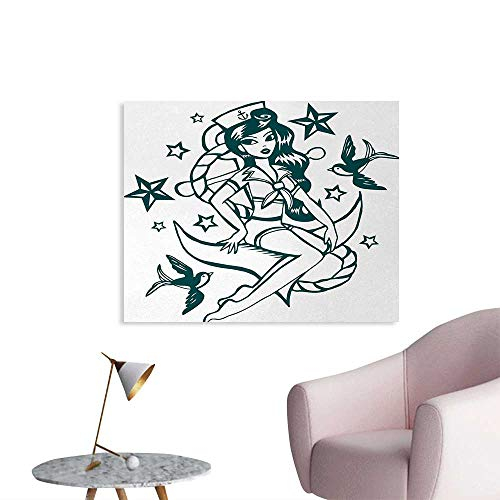 Tudouhoho Anchor Cool Poster Pin up Girl Nautical Sailor Suit Surrounded by Swallow Birds Stars Hand Drawn Wall Paper Dark Blue White W32 xL24