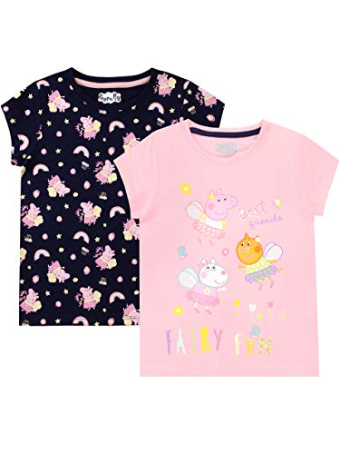 Peppa Pig Girls' T-Shirt Pack of 2 Size 6 Multicolored