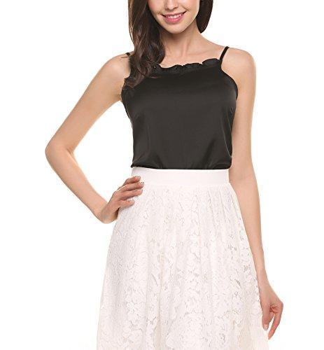 Black Satin Stretch Sleeveless Top (Zeagoo Women's Camisole Solid Satin Ruffle Shirt Tank Top with Adjustable Spaghetti Straps (Black,XL))