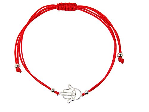 Red Kabbalah String Bracelet with Sterling Silver Hamsa Hand Charm (Sterling Silver) ()