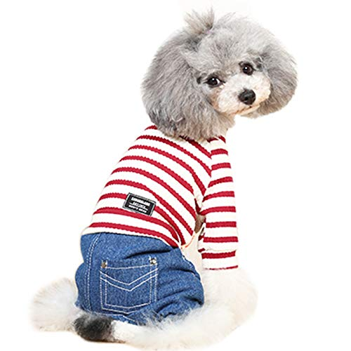 Alfie Pet - Fabian Striped Top with Jean Bottom Jumper - Color: Red, Size: Medium