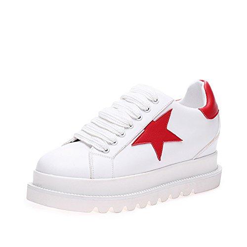 LvYuan Zapatos blancos de las mujeres / cuero de patente / oficina y carrera / talón plano / manera ocasional al aire libre de la comodidad / zapatos de la flatform / zapatillas de deporte Lace-up que Red