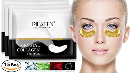 Price comparison product image PIL'ATEN 15 Pairs (30 pieces) Anti-Aging Hydrating 24K Gold Collagen Eye Masks, Collagen Eye Pads - No More Wrinkles, Bags, Dark Circles, Puffiness, and Dry Skin Around Eyes!