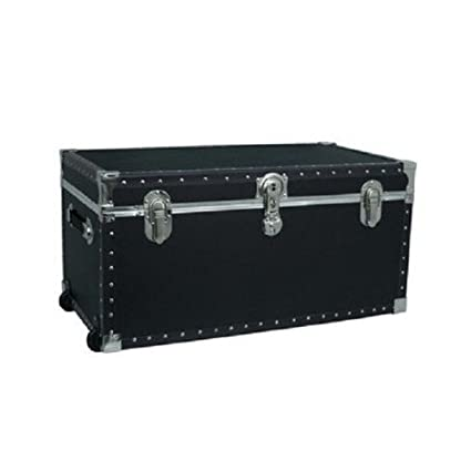 Attirant Storage Footlocker Trunk For Travel Or University/ College Dorm With Wheels