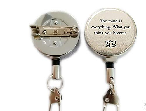 Buddha Quote Keychain,Motivational Wisdom,Retractable Badge Holder Carabiner Reel Clip On ID Card Holders (Holder Quote Badge)