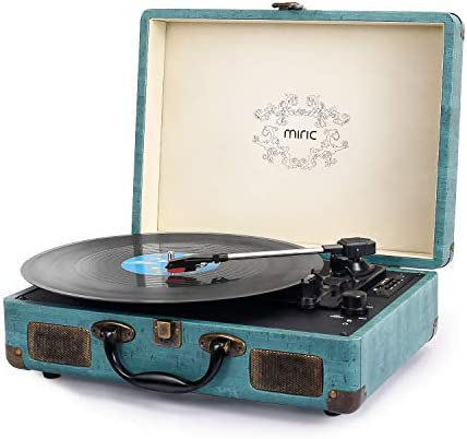 Record Player, Miric Bluetooth Turntable with 2 Built-in Speakers, Portable Size, 3-Speed, for 7 10 12inch Vinyl Records, Equipped USB SD AUX Port, Support Transcription, Suitcase Design Jade Blue