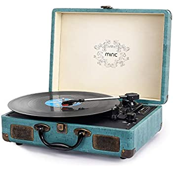 Record Player, Miric Bluetooth Turntable with 2 Built-in Speakers, Portable  Size, 3-Speed, for 7/10/12inch Vinyl Records, Equipped USB/SD/AUX Port,