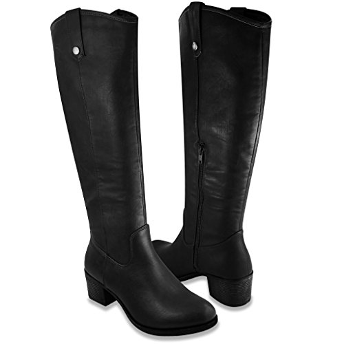 Distressed Leather Riding Boots - 8