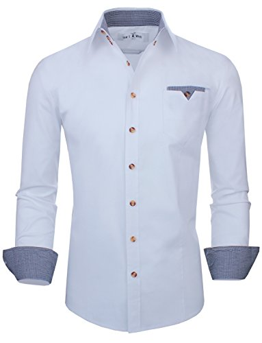 (Tom's Ware Mens Classic Slim Fit Contrast Inner Long Sleeve Dress Shirts TWNMS310S-8219-WHITE-US L)