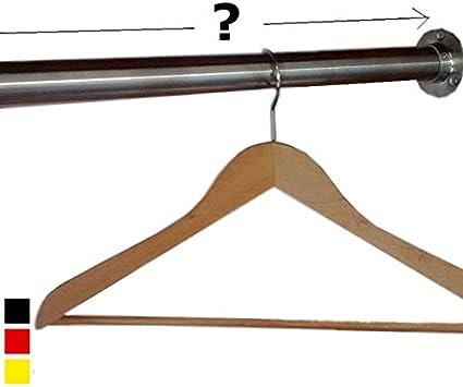 Kleiderstange Nano Edelstahl geb/ürstet auf Ma/ß Garderobenstange rechteckig 500-1500mm Wand-oder Deckenmontage Schrankrohr auf Wunschl/änge k/ürzbar