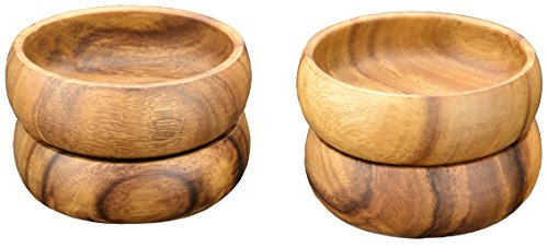 Acaciaware Acacia Wood Round Calabash Salad & Pasta Bowls (6-inch by 3-Inch), Set of 4