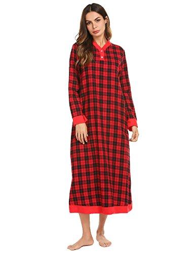 Ekouaer Long Nightgowns for Women,Plaid Flannel Nightgown Warm Sleepwear Lounge Dress,Ydl2,Medium