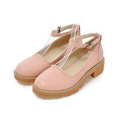 Zapatos de tacones de las mujeres Primavera Verano Otoño Comfort cuero sintético oficina y carrera Fiesta y Noche Casual hebilla de tacón grueso Negro Azul Rosa Beige Otros Beige