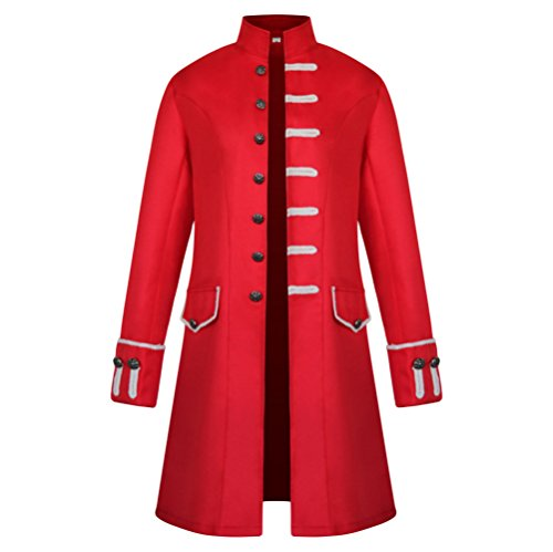 Hao Kas Men's Vintage Steampunk Uniform Stand Collar Solid Color Gothic Victorian Long Jacket Trench Coat (L, Red) -