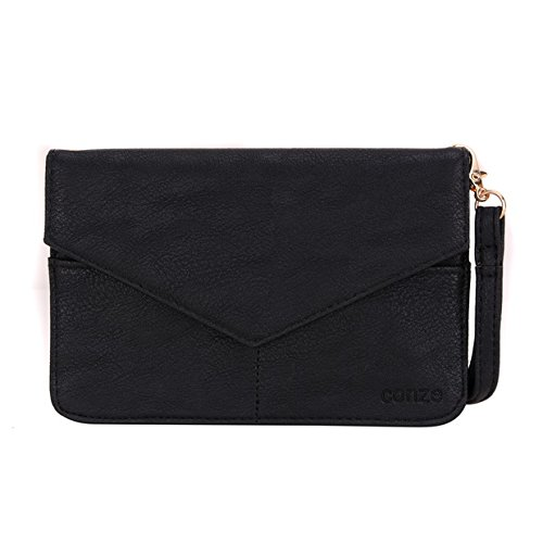 Conze Mujer embrague cartera todo bolsa con correas de hombro para Smart Phone para BLU Studio X Mini negro negro negro