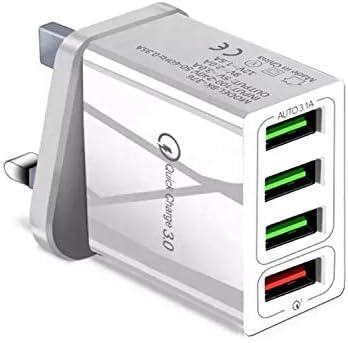 White 4 Multi Port Quick Charge Qc 3 0 Multiple 4 X Way Amazon Co Uk Electronics