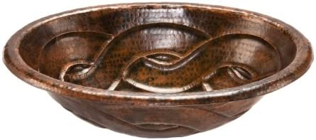Premier Copper Products LO19RBDDB Oval Braid Self Rimming Hammered Copper Sink, Oil Rubbed Bronze