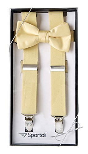 Suspenders for Kids Gift Set Wedding Tuxedo Genuine Leather Premium 1 Inch Suspender -Yellow (26 Inch) by Sportoli