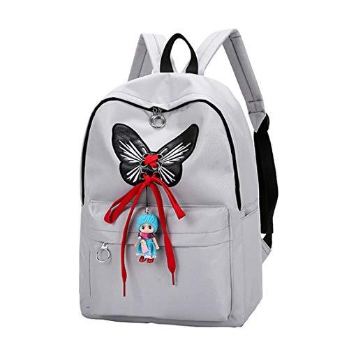 Gran Peso Capacidad De Y Popular Cinta Escolar Gray Mochila Mariposa Bowknot Haxibkena Ligero 6xRqZwna46
