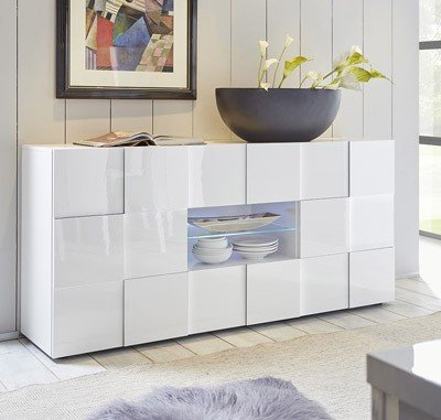 mobile contenitore 2 ante 2 cassetti moderno BIANCO LUCIDO soggiorno madia  buffet con sportelli design DAME 07