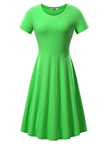 HUHOT Light Green Dress,Women Short Sleeve Fall Casual Junior Flared Dress Petites(Green,XS)