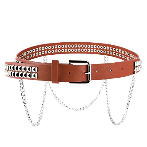 Women Faux Leather Square Metal Spike Studded Fashion Belt Waist with Punk Metal Chain (Brown)