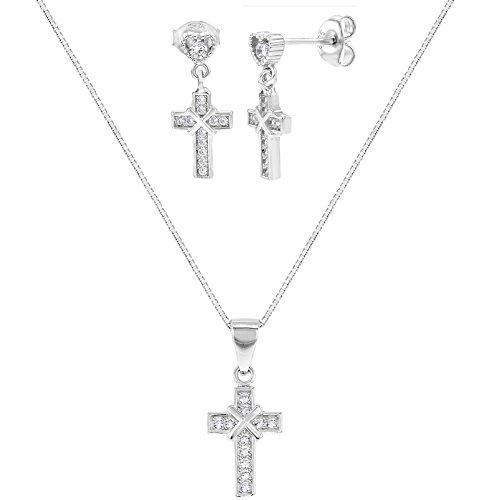Plata de Ley 925CZ Cruz colgante Dangle Pendientes católica niños joyería Set