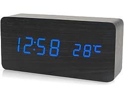 mewmewcat Eletrônico LED Digital Relógio De Madeira Tempo De Alarme/Temperatura/Data De Exibição Relógio De Mesa 3 Níveis Bri