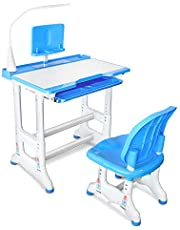 Kids Desk Table and Chair Set Adjustable Height Childs Study Desks School Student Writing Tables W/Pull Out Drawer Storage,Pencil Case,Bookstand,LED Light (Blue)
