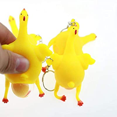 YOSIYO Chicken and Eggs Stress Relieve Toys, Funny Decompression Chicken Toy Squeeze Laying Egg Keychain Keyrings Reduce Stress Relief Ball Novelty Venting Anger Toys: Home & Kitchen