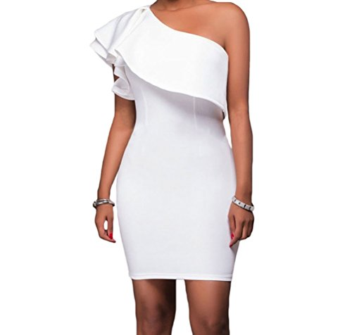 DH-MS Dress Womens White Asymmetric Ruffled Neckline Bodycon