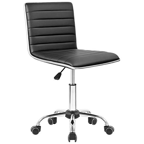 Homall Task Chair Desk Chair, Mid Back Armless Vanity Chair Swivel Office Rolling Leather Computer Chairs Ribbed Adjustable Conference Chair (Black)