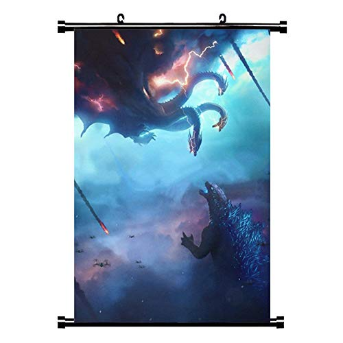 Jacobera Godzilla King of The Monsters Wall Scroll Cloth Poster, Wall Art Mural Home Decor Hanging Artwork for Living Room/Bedroom(B)