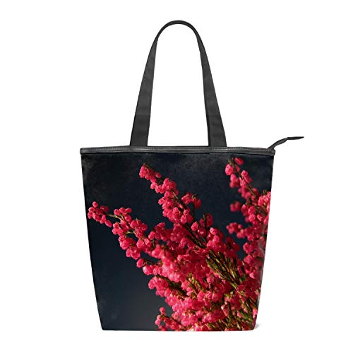 Canvas Tote Bags Heather Bouquet Black Tote Bags Reusable Bags for Shopping School Beach 14