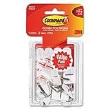 General Purpose Hooks, Small, Holds 1lb, White, 9 Hooks & 12 Strips/pack