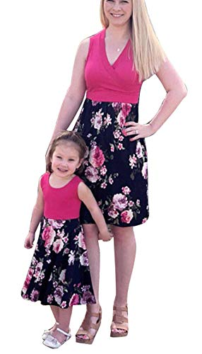 Family Matching Flower Print O-Neck Sleeveless Short Dress Mother Girl High Waist Solid Color Cotton Tank Dress (Rose Red, Mom/2XL) by YT couple