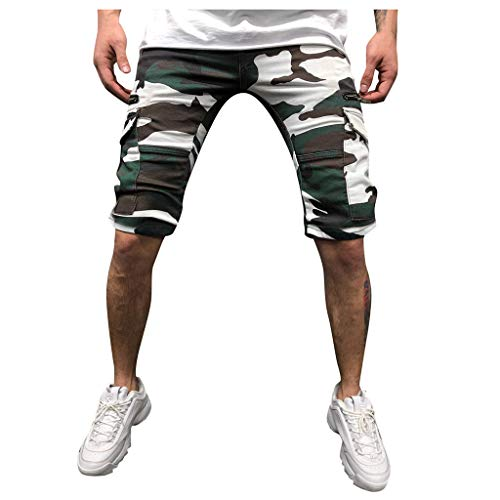 WOCACHI Mens Twill Cargo Shorts Jogger Pants Chino Sport Camouflage Drawstring Belts Casual Loose Fit Sweatpants Multi Pockets Size 38 40 42 44 46 48 Summer 2019 Deals Dungarees Relaxed (Best Fitting Mens Jeans 2019)